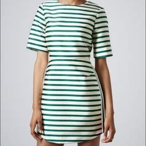 Topshop Structured Green and White Striped Dress
